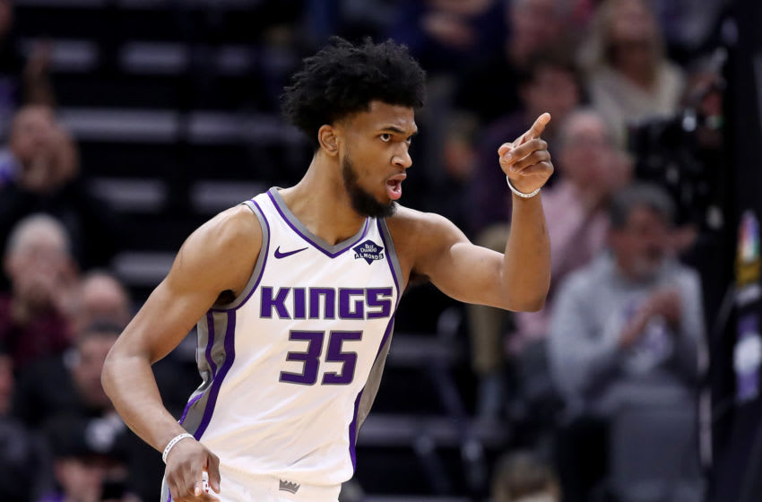SACRAMENTO, CALIFORNIA - JANUARY 10: Marvin Bagley III #35 of the Sacramento Kings reacts after making a shot against the Detroit Pistons at Golden 1 Center on January 10, 2019 in Sacramento, California. NOTE TO USER: User expressly acknowledges and agrees that, by downloading and or using this photograph, User is consenting to the terms and conditions of the Getty Images License Agreement. (Photo by Ezra Shaw/Getty Images)