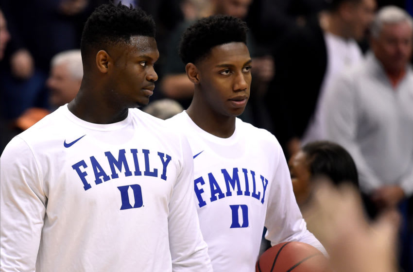 Duke basketball players Zion Williamson and RJ Barrrett (Photo by Lance King/Getty Images)