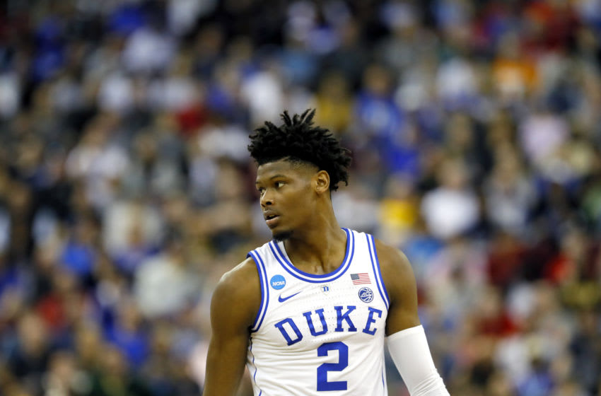 COLUMBIA, SOUTH CAROLINA - MARCH 22: Cam Reddish #2 of the Duke Blue Devils looks on against the North Dakota State Bison in the first half during the first round of the 2019 NCAA Men's Basketball Tournament at Colonial Life Arena on March 22, 2019 in Columbia, South Carolina. (Photo by Kevin C. Cox/Getty Images)