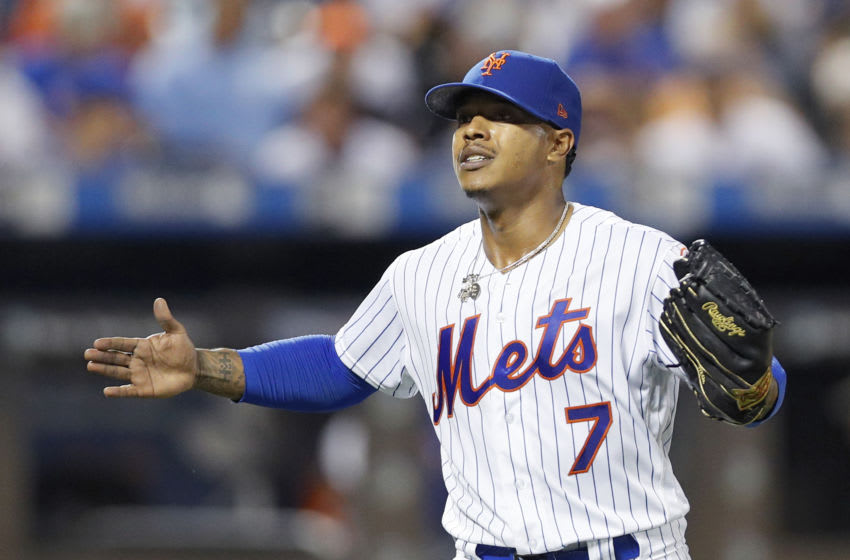 NEW YORK, NY - AUGUST 27: Former Duke baseball Pitcher Marcus Stroman #7 of the New York Mets reacts after getting the last out of an inning in an MLB baseball game against the Chicago Cubs on August 27, 2019 at Citi Field in the Queens borough of New York City. Cubs won 5-2. (Photo by Paul Bereswill/Getty Images)