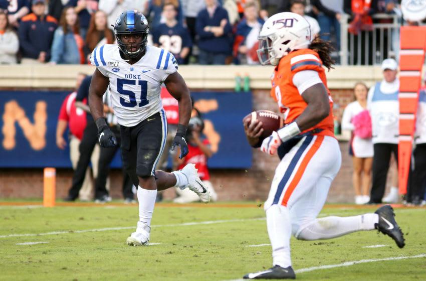 Duke football linebacker Victor Dimukeje (Photo by Ryan M. Kelly/Getty Images)