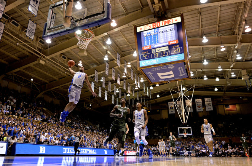 Duke basketball freshman Cassius Stanley #2 of the Duke Blue Devils dunks against the Colorado State Rams during the second half of their game at Cameron Indoor Stadium on November 08, 2019 in Durham, North Carolina. (Photo by Grant Halverson/Getty Images)