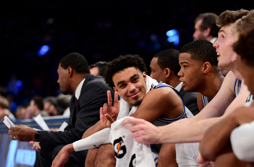 Duke basketball point guard Tre Jones gives peace sign (Photo by Emilee Chinn/Getty Images)