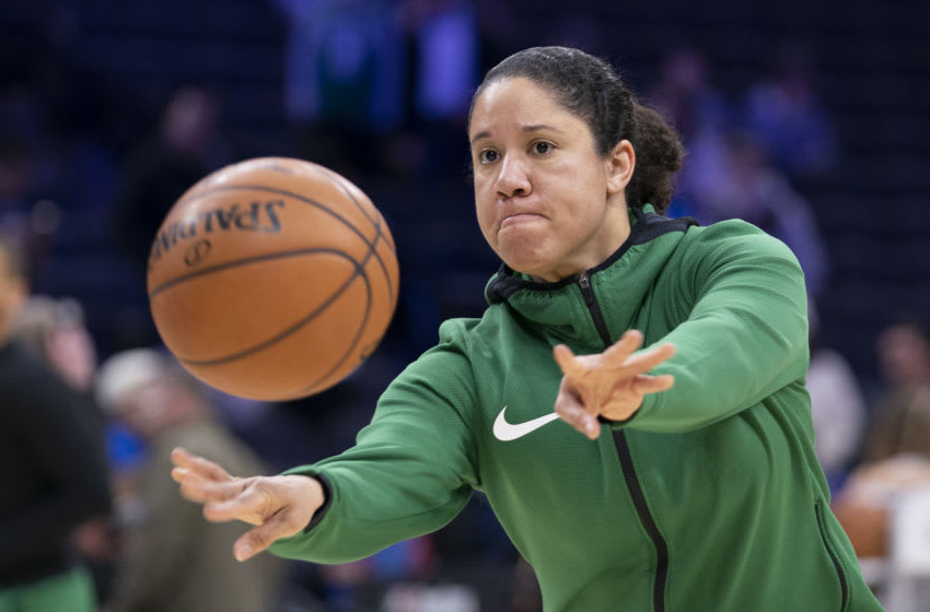 The Duke basketball program hiring Kara Lawson to be the next women's head coach. (Photo by Mitchell Leff/Getty Images)
