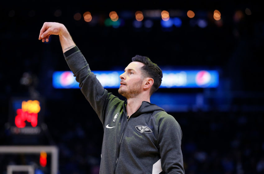 Former Duke basketball star JJ Redick warms up with the New Orleans Pelicans. (Photo by Lachlan Cunningham/Getty Images)