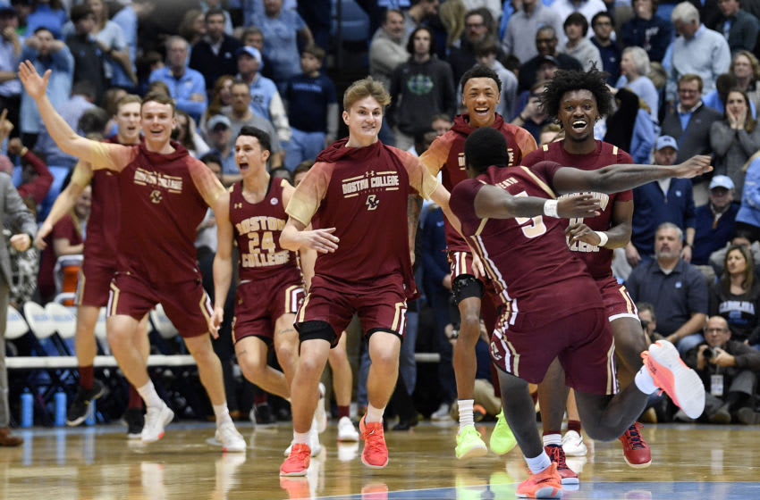 CHAPEL HILL, NORTH CAROLINA - FEBRUARY 01:against the Boston College Eagles players celebrate after their win against the North Carolina Tar Heels at the Dean Smith Center on February 01, 2020 in Chapel Hill, North Carolina. Boston College won 71-70. (Photo by Grant Halverson/Getty Images)