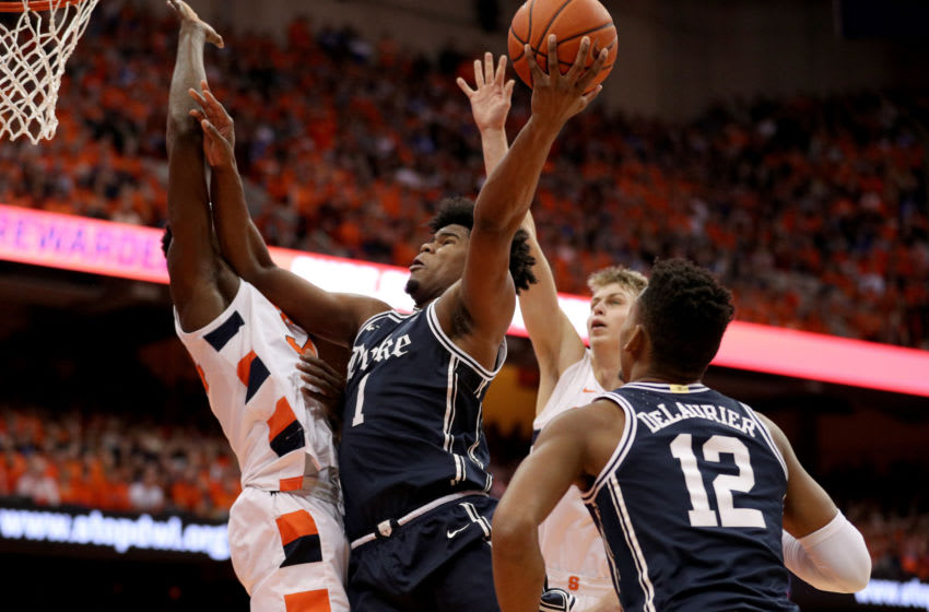 SYRACUSE, NEW YORK - FEBRUARY 01: Vernon Carey Jr. #1 of the Duke Blue Devils drives to the basket during the first half of an NCAA basketball game against the Syracuse Orange at the Carrier Dome on February 01, 2020 in Syracuse, New York. (Photo by Bryan M. Bennett/Getty Images)