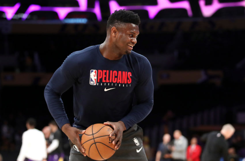 Former Duke basketball star Zion Williamson warms up with the New Orleans Pelicans. (Photo by Katelyn Mulcahy/Getty Images)