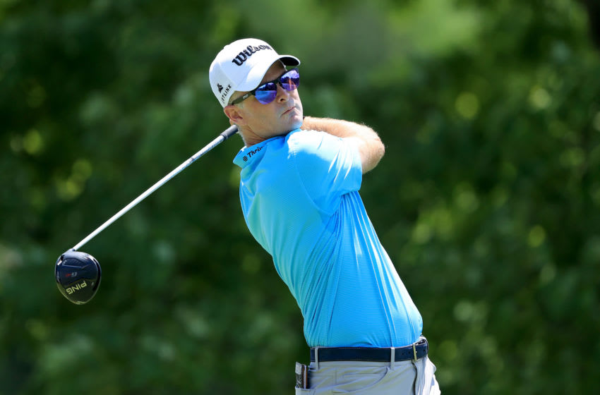 Former Duke golf star Kevin Streelman hits a driver off the tee. (Photo by Sam Greenwood/Getty Images)