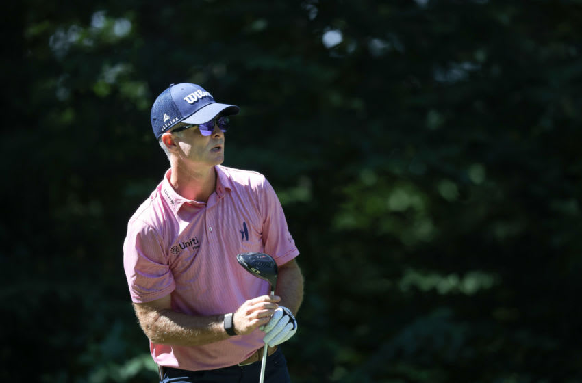 Former Duke golf standout Kevin Streelman watches a shot at The Northern Trust. (Photo by Rob Carr/Getty Images)