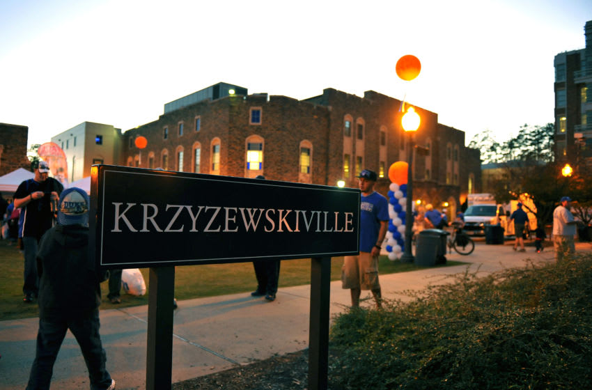 The scene outside Krzyzewskiville prior to a Duke basketball game (Photo by Lance King/Getty Images)