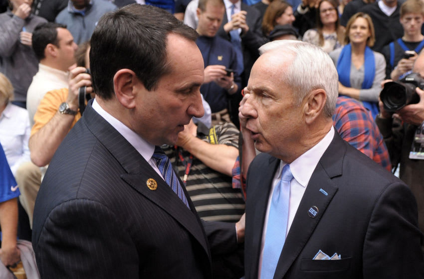 Duke basketball head coach Mike Krzyzewski and UNC's Roy Williams (Photo by Lance King/Getty Images)