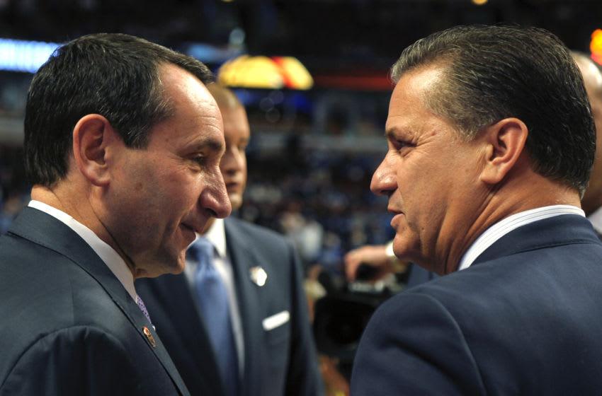 Duke basketball head coach Mike Krzyzewski and Kentucky's John Calipari (Photo by Lance King/Getty Images)