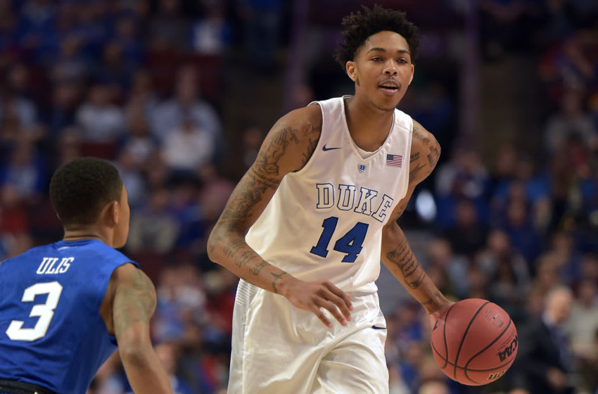 Former Duke basketball star Brandon Ingram plays against the Kentucky Wildcats. (Photo by Lance King/Getty Images)
