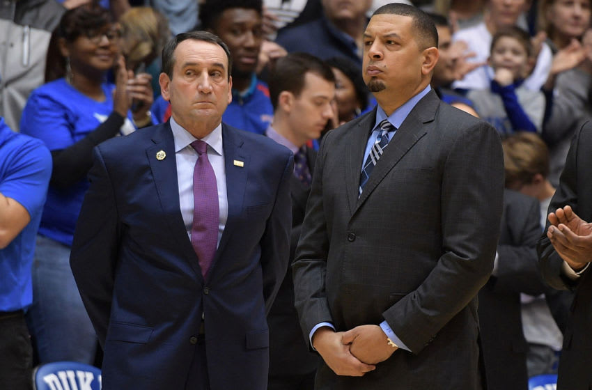 Duke basketball head coach Mike Krzyzewski alongside his former player and assistant, Jeff Capel (Photo by Lance King/Getty Images)