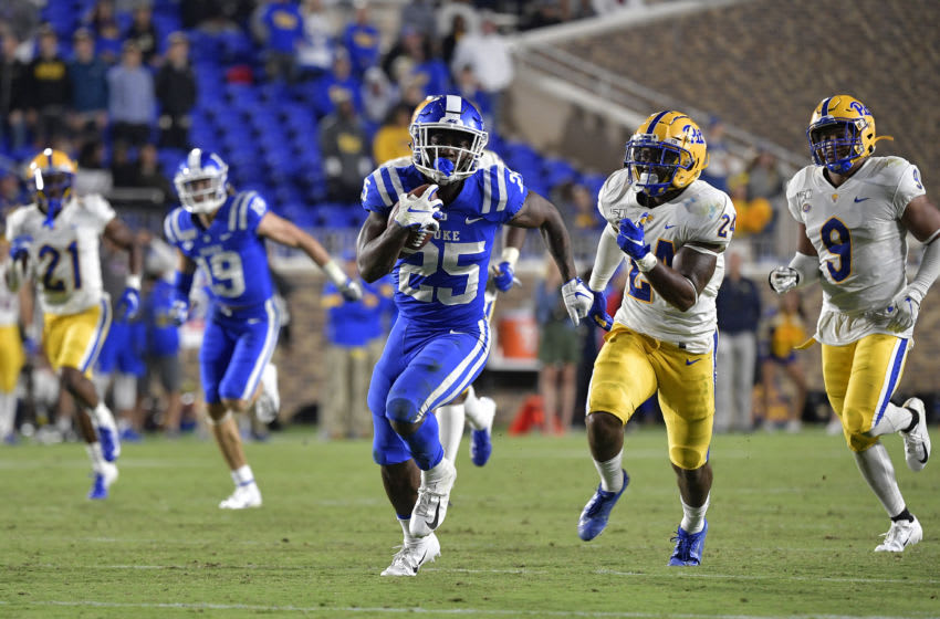 Duke football star running back Deon Jackson sprints towards the end zone. (Photo by Grant Halverson/Getty Images)
