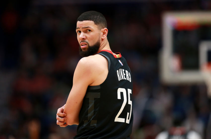 Former Duke basketball star Austin Rivers playing for the Houston Rockets. (Photo by Sean Gardner/Getty Images)