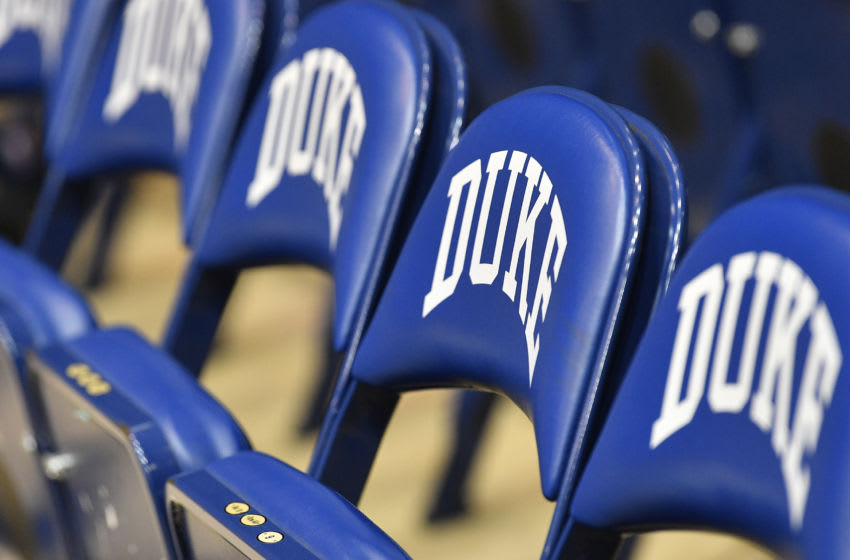 Chairs on the Duke basketball bench prior to a game. (Photo by Grant Halverson/Getty Images)