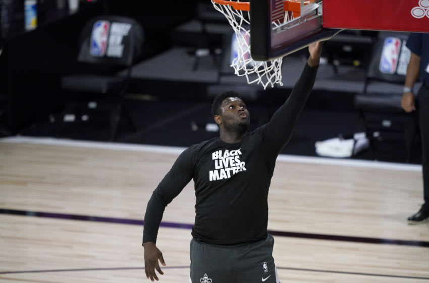 Former Duke basketball star Zion Williamson warms up for the New Orleans Pelicans. (Photo by Ashley Landis-Pool/Getty Images)