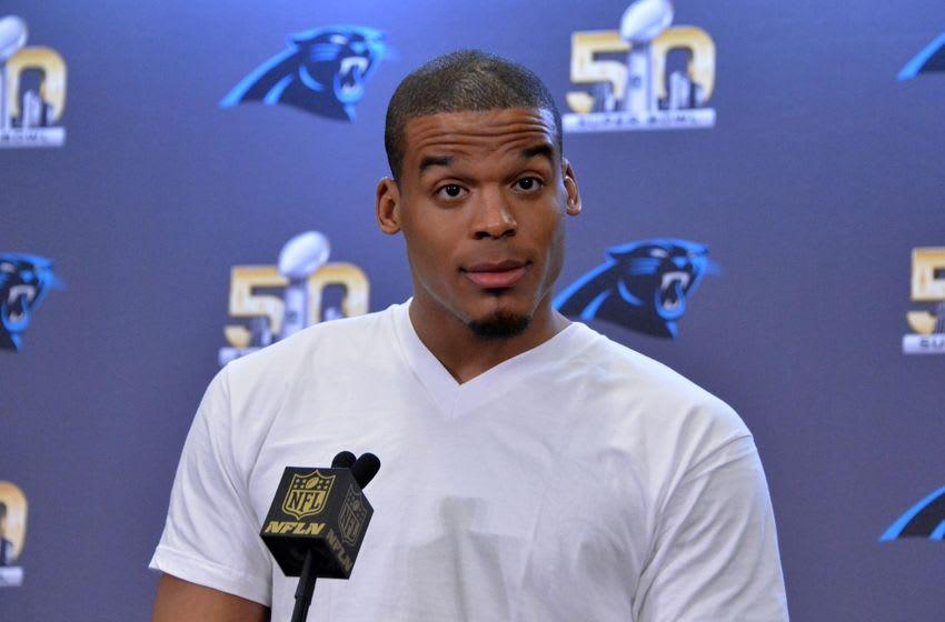 Feb 2, 2016; San Jose, CA, USA; Carolina Panthers quarterback Cam Newton addresses the media at press conference prior to Super Bowl 50 at the San Jose McNery Convention Center. Mandatory Credit: Kirby Lee-USA TODAY Sports
