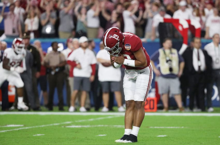 MIAMI, FL - DECEMBER 29: Tua Tagovailoa #13 of the Alabama Crimson Tide celebrates the touchdown in the first quarter during the College Football Playoff Semifinal against the Oklahoma Sooners at the Capital One Orange Bowl at Hard Rock Stadium on December 29, 2018 in Miami, Florida. (Photo by Streeter Lecka/Getty Images)