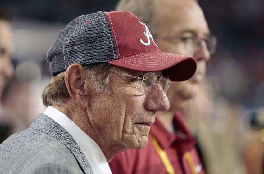 MIAMI GARDENS, FL - DECEMBER 29: Former New York Jets and Alabama Crimson Tide quarterback Joe Namath watches Alabama warm up prior to the College Football Playoff Semifinal at the Capital One Orange Bowl against the Oklahoma Sooners at Hard Rock Stadium on December 29, 2018 in Miami Gardens, Florida. (Photo by Joel Auerbach/Getty Images)