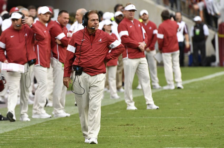 COLLEGE STATION, TEXAS - OCTOBER 12: Head coach Nick Saban of the Alabama Crimson Tide looks on during the game against Texas A&M Aggies at Kyle Field on October 12, 2019 in College Station, Texas. (Photo by Logan Riely/Getty Images)