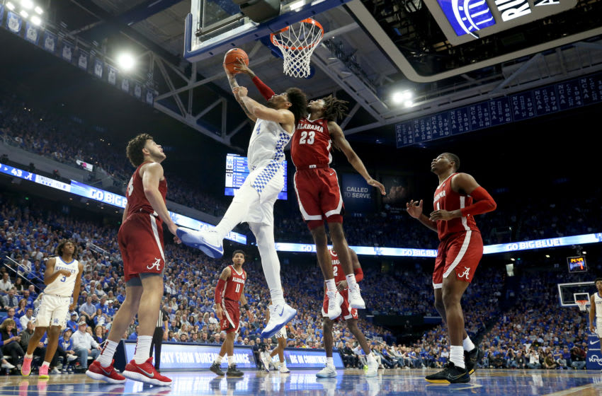 LEXINGTON, KENTUCKY - JANUARY 11: Nick Richards #4 of the Kentucky Wildcats shoots the ball against the Alabama Crimson Tide at Rupp Arena on January 11, 2020 in Lexington, Kentucky. (Photo by Andy Lyons/Getty Images)