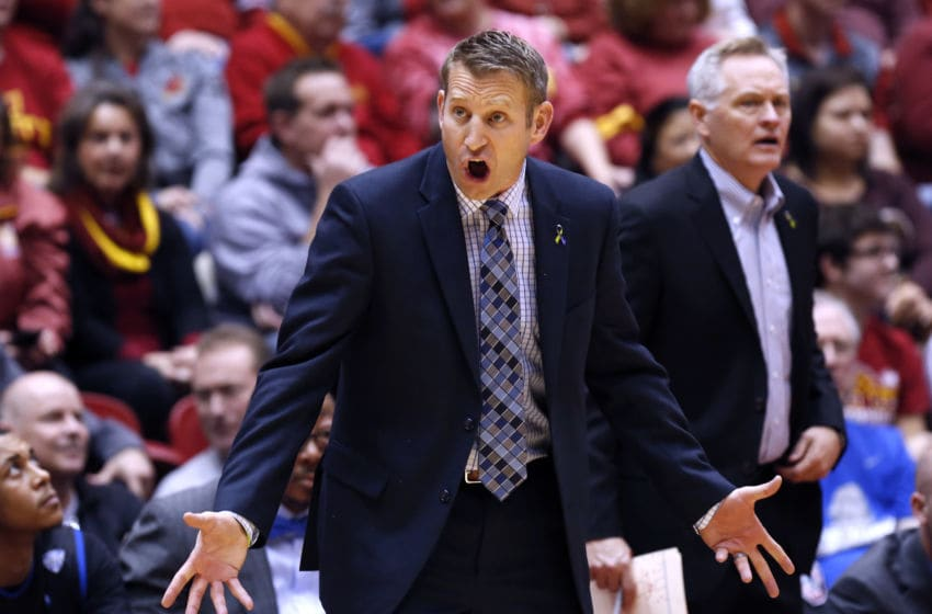 AMES, IA - DECEMBER 7: Head coach Nate Oats of the Buffalo Bulls coaches from the bench in the first half of play against the Iowa State Cyclones at Hilton Coliseum on December 7, 2015 in Ames, Iowa. (Photo by David Purdy/Getty Images)
