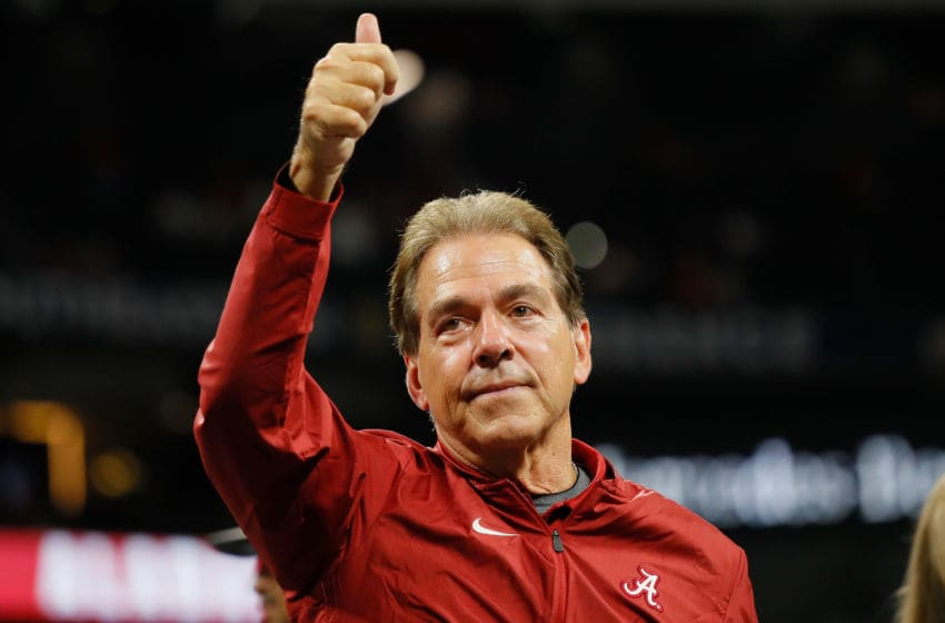 ATLANTA, GA - DECEMBER 01: Head coach Nick Saban of the Alabama Crimson Tide reacts after defeating the Georgia Bulldogs 35-28 in the 2018 SEC Championship Game at Mercedes-Benz Stadium on December 1, 2018 in Atlanta, Georgia. (Photo by Kevin C. Cox/Getty Images)