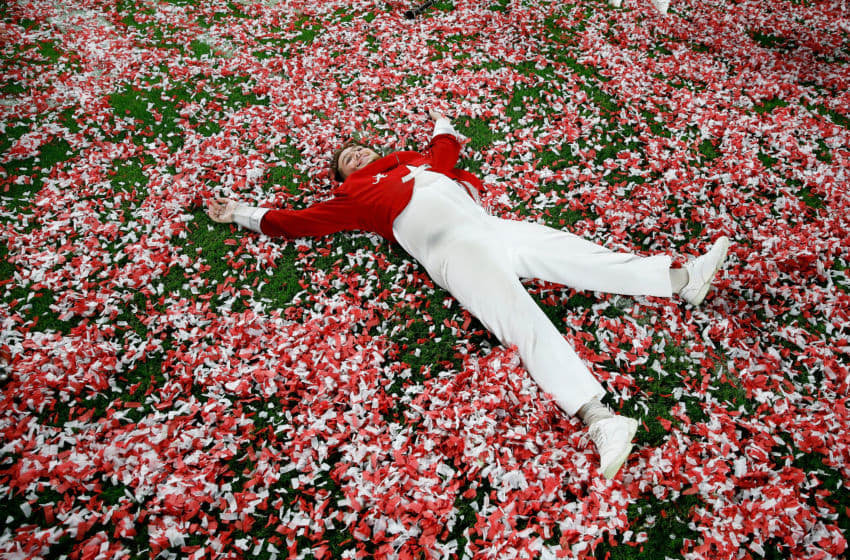 MIAMI, FL - DECEMBER 29: A Alabama Crimson Tide band member celebrates after the game against the Oklahoma Sooners in the College Football Playoff Semifinal at the Capital One Orange Bowl at Hard Rock Stadium on December 29, 2018 in Miami, Florida. (Photo by Michael Reaves/Getty Images)