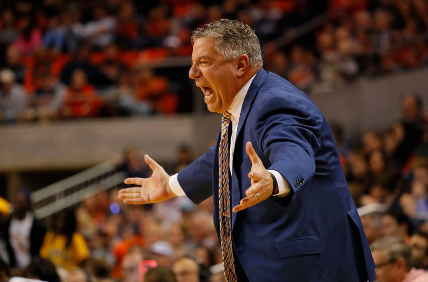 AUBURN, ALABAMA - DECEMBER 22: Head coach Bruce Pearl of the Auburn Tigers reacts during the game against the Murray State Racers at Auburn Arena on December 22, 2018 in Auburn, Alabama. (Photo by Kevin C. Cox/Getty Images)