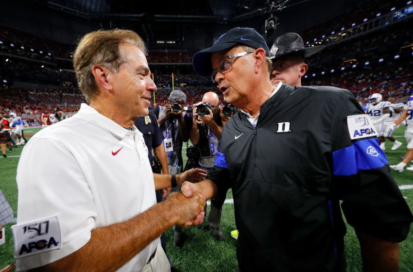 ATLANTA, GEORGIA - AUGUST 31: Head coach Nick Saban of the Alabama Crimson Tide shake hands with head coach David Cutcliffe of the Duke Blue Devils after their 42-3 win at Mercedes-Benz Stadium on August 31, 2019 in Atlanta, Georgia. (Photo by Kevin C. Cox/Getty Images)