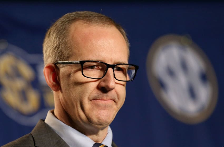 NASHVILLE, TN - MARCH 13: Greg Sankey the new commissioner of the SEC talks to the media before the quaterfinals of the SEC Basketball Tournament at Bridgestone Arena on March 13, 2015 in Nashville, Tennessee. (Photo by Andy Lyons/Getty Images)