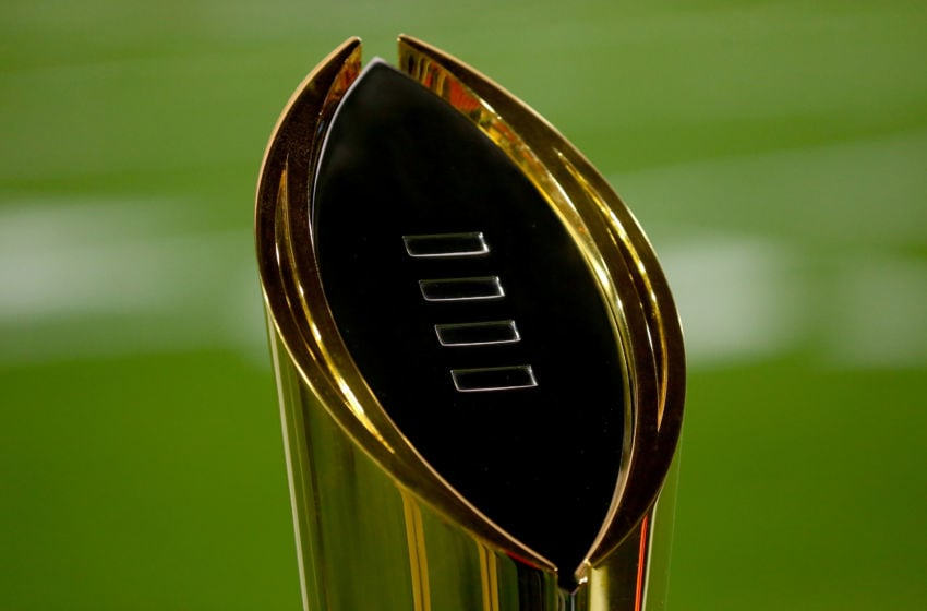 GLENDALE, AZ - JANUARY 11: The College Football Playoff National Championship Trophy is seen on the field before the 2016 College Football Playoff National Championship Game between the Clemson Tigers and the Alabama Crimson Tide at University of Phoenix Stadium on January 11, 2016 in Glendale, Arizona. (Photo by Ronald Martinez/Getty Images)