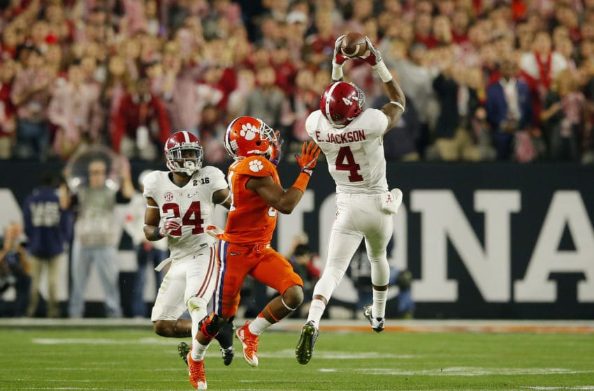 GLENDALE, AZ - JANUARY 11: Eddie Jackson #4 of the Alabama Crimson Tide intercepts a ball in the second quarter thrown by Deshaun Watson #4 of the Clemson Tigers during the 2016 College Football Playoff National Championship Game at University of Phoenix Stadium on January 11, 2016 in Glendale, Arizona. (Photo by Kevin C. Cox/Getty Images)