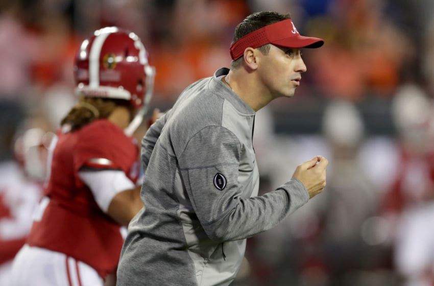 TAMPA, FL - JANUARY 09: Offensive coordinator Steve Sarkisian of the Alabama Crimson Tide looks on before taking on the Clemson Tigers in the 2017 College Football Playoff National Championship Game at Raymond James Stadium on January 9, 2017 in Tampa, Florida. (Photo by Streeter Lecka/Getty Images)