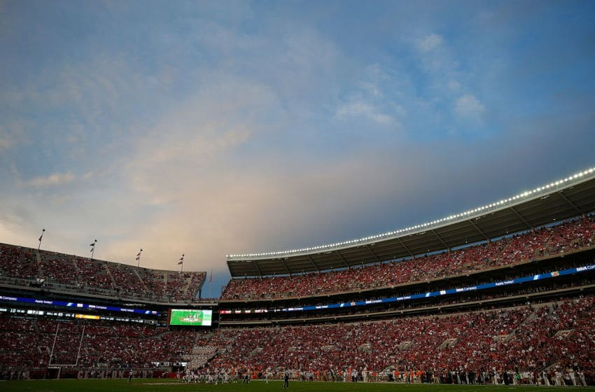 TUSCALOOSA, AL - OCTOBER 21: A general view of Bryant-Denny Stadium in the final seconds of the Alabama Crimson Tide 45-7 win over the Tennessee Volunteers on October 21, 2017 in Tuscaloosa, Alabama. (Photo by Kevin C. Cox/Getty Images)