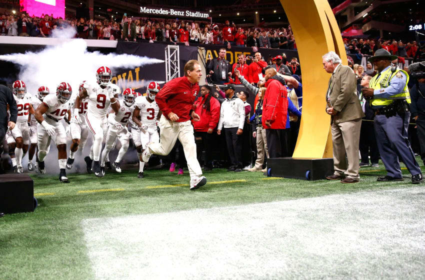 ATLANTA, GA - JANUARY 08: Head coach Nick Saban of the Alabama Crimson Tide leads his team out of the tunnel prior to the game against the Georgia Bulldogs in the CFP National Championship presented by AT&T at Mercedes-Benz Stadium on January 8, 2018 in Atlanta, Georgia. (Photo by Jamie Squire/Getty Images)