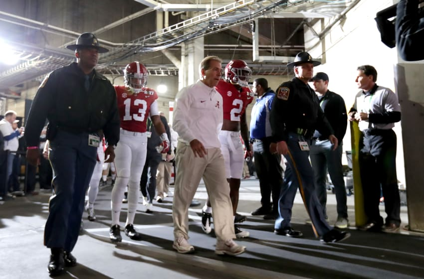 TAMPA, FL - JANUARY 09: Head coach Nick Saban of the Alabama Crimson Tide walks to the field prior to the 2017 College Football Playoff National Championship Game against the Clemson Tigers at Raymond James Stadium on January 9, 2017 in Tampa, Florida. (Photo by Ronald Martinez/Getty Images)