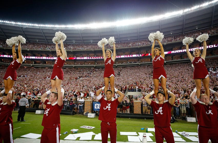 TUSCALOOSA, AL - NOVEMBER 04: The Alabama Crimson Tide cheer prior to kickoff against the LSU Tigers at Bryant-Denny Stadium on November 4, 2017 in Tuscaloosa, Alabama. (Photo by Kevin C. Cox/Getty Images)