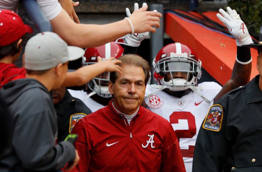 AUBURN, AL - NOVEMBER 25: Head coach Nick Saban of the Alabama Crimson Tide leads his team on the field prior to the game against the Auburn Tigers at Jordan Hare Stadium on November 25, 2017 in Auburn, Alabama. (Photo by Kevin C. Cox/Getty Images)