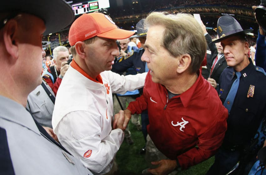 NEW ORLEANS, LA - JANUARY 01: Head coach Nick Saban of the Alabama Crimson Tide and head coach Dabo Swinney of the Clemson Tigers greet after the AllState Sugar Bowl at the Mercedes-Benz Superdome on January 1, 2018 in New Orleans, Louisiana. (Photo by Sean Gardner/Getty Images)