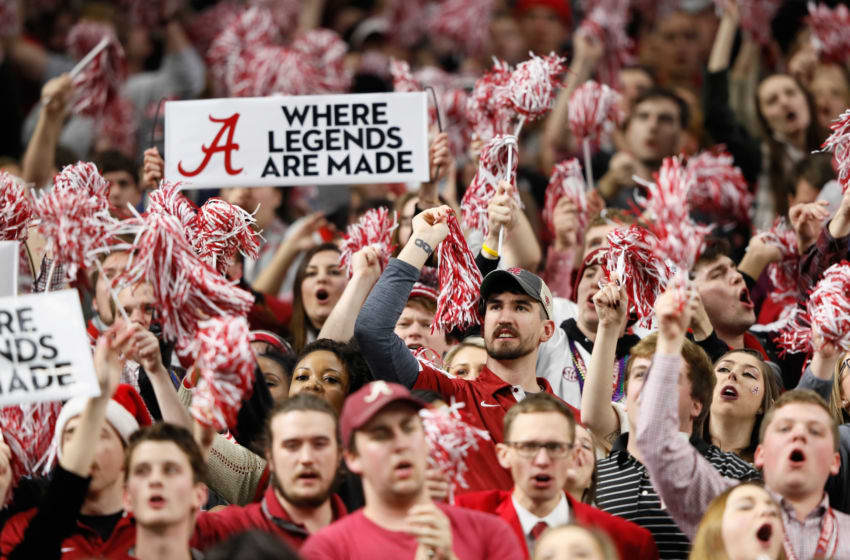 NEW ORLEANS, LA - JANUARY 01: Alabama Crimson Tide fans react in the second half of the AllState Sugar Bowl against the Clemson Tigers at the Mercedes-Benz Superdome on January 1, 2018 in New Orleans, Louisiana. (Photo by Jamie Squire/Getty Images)