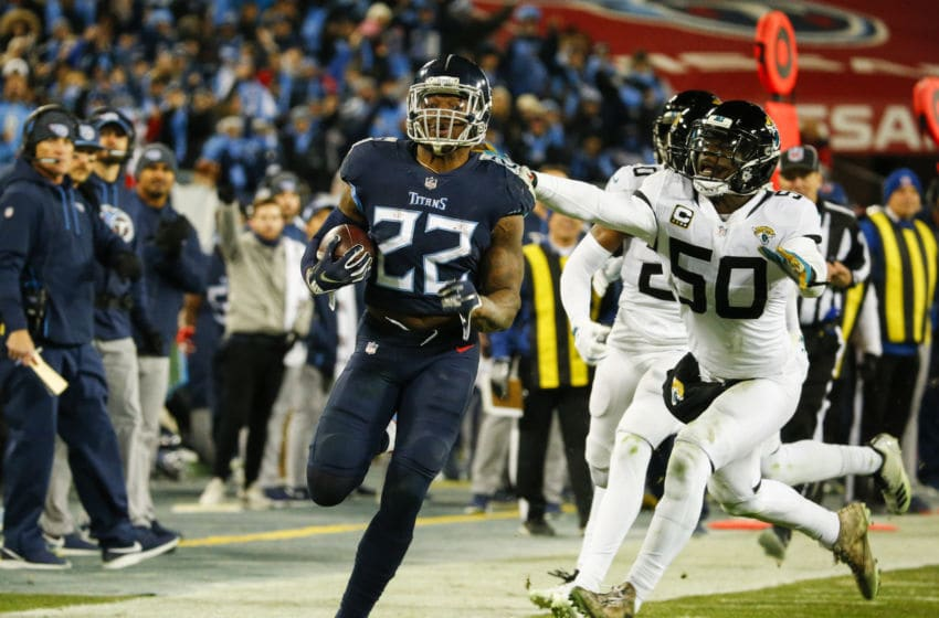 NASHVILLE, TN - DECEMBER 6: Derrick Henry #22 of the Tennessee Titans runs with the ball against the Jacksonville Jaguars during the third quarter at Nissan Stadium on December 6, 2018 in Nashville, Tennessee. (Photo by Frederick Breedon/Getty Images)