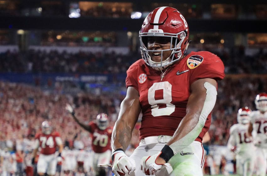 MIAMI, FL - DECEMBER 29: Josh Jacobs #8 of the Alabama Crimson Tide reacts after scoring a touchdown in the second quarter during the College Football Playoff Semifinal against the Oklahoma Sooners at the Capital One Orange Bowl at Hard Rock Stadium on December 29, 2018 in Miami, Florida. (Photo by Mike Ehrmann/Getty Images)