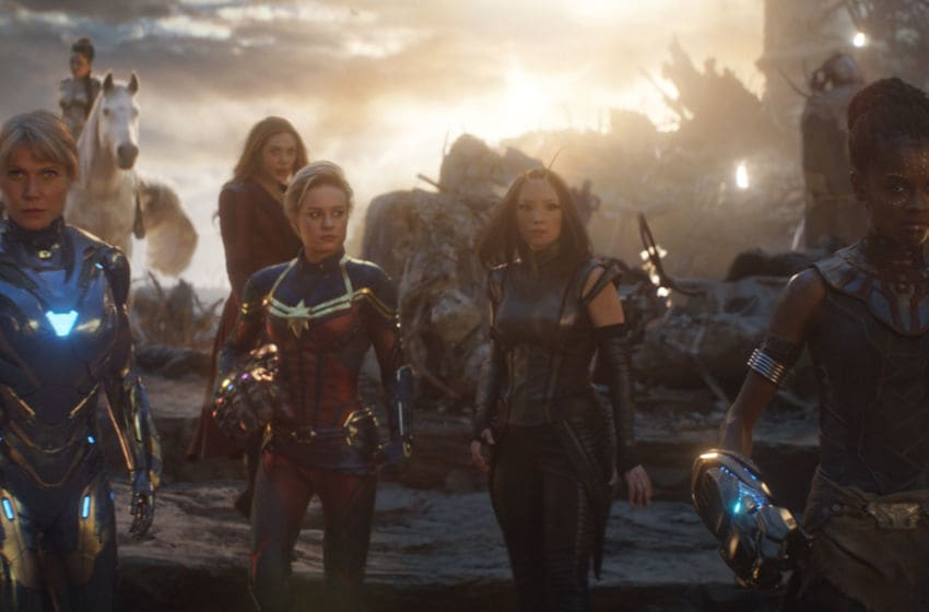 Marvel Studios' AVENGERS: ENDGAME..L to R: Pepper Potts in Rescue Suit (Gwyneth Paltrow), Valkyrie (Tessa Thompson), Scarlet Witch (Elizabeth Olsen), Captain Marvel (Brie Larson), Mantis (Pom Klementieff) and Shuri (Letitia Wright)..Photo: Film Frame..©Marvel Studios 2019
