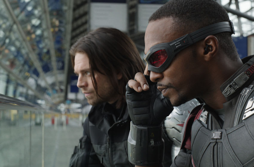 Marvel's Captain America: Civil War..L to R: Winter Soldier/Bucky Barnes (Sebastian Stan) and Sam Wilson/Falcon (Anthony Mackie)..Photo Credit: Film Frame..© Marvel 2016