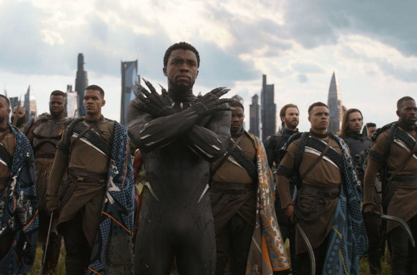 Marvel Studios' AVENGERS: INFINITY WAR Black Panther/T'Challa (Chadwick Boseman), in b/g M'Baku (Winston Duke), Captain America (Chris Evans) and Winter Soldier (Sebastian Stan) Photo: Film Frame ©Marvel Studios 2018