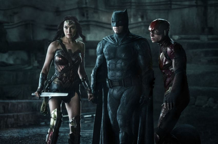 Photo: Gal Gadot, Ben Affleck and Ezra Miller in Justice League (2017).. Image Courtesy Warner Bros. Entertainment